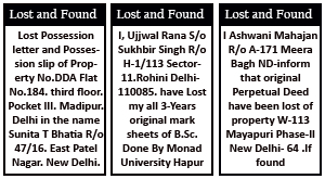 Book Lost and found Ad in Navbharat Times Online at Lowest Cost